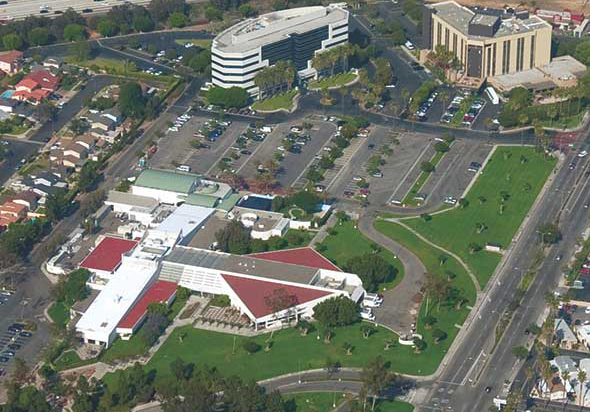 aerial view of Carson Center and Doubletree Hotel